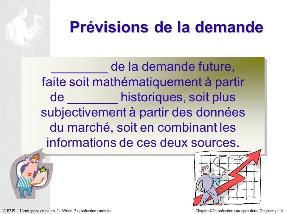 Chapitre 8 Introduction aux opérations Diapositive 10© ERPI – Lentreprise en action, 2e édition. Reproduction autorisée. Prévisions de la demande ____