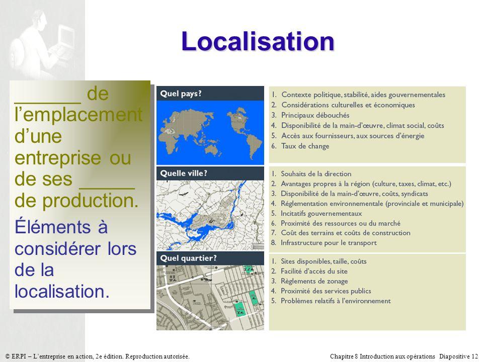 Chapitre 8 Introduction aux opérations Diapositive 12© ERPI – Lentreprise en action, 2e édition. Reproduction autorisée. Localisation ______ de lempla