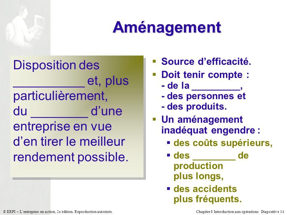 Chapitre 8 Introduction aux opérations Diapositive 14© ERPI – Lentreprise en action, 2e édition. Reproduction autorisée. Aménagement Source defficacit