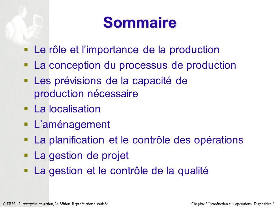 Chapitre 8 Introduction aux opérations Diapositive 2© ERPI – Lentreprise en action, 2e édition. Reproduction autorisée. Sommaire Le rôle et limportanc