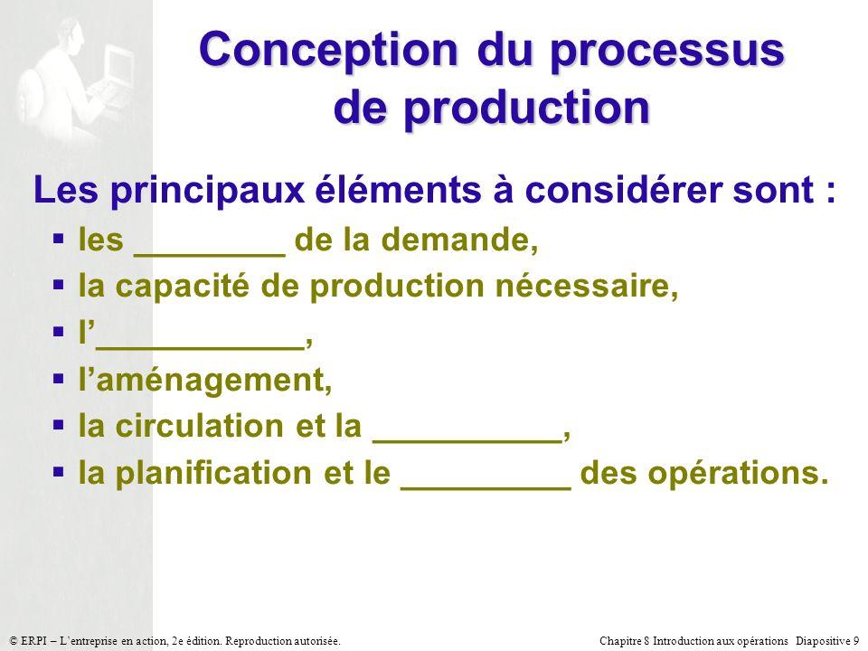 Chapitre 8 Introduction aux opérations Diapositive 9© ERPI – Lentreprise en action, 2e édition. Reproduction autorisée. Conception du processus de pro