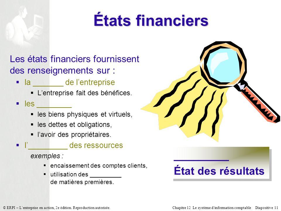 Chapitre 12 Le système dinformation comptable Diapositive 11© ERPI – Lentreprise en action, 2e édition. Reproduction autorisée. États financiers Les é