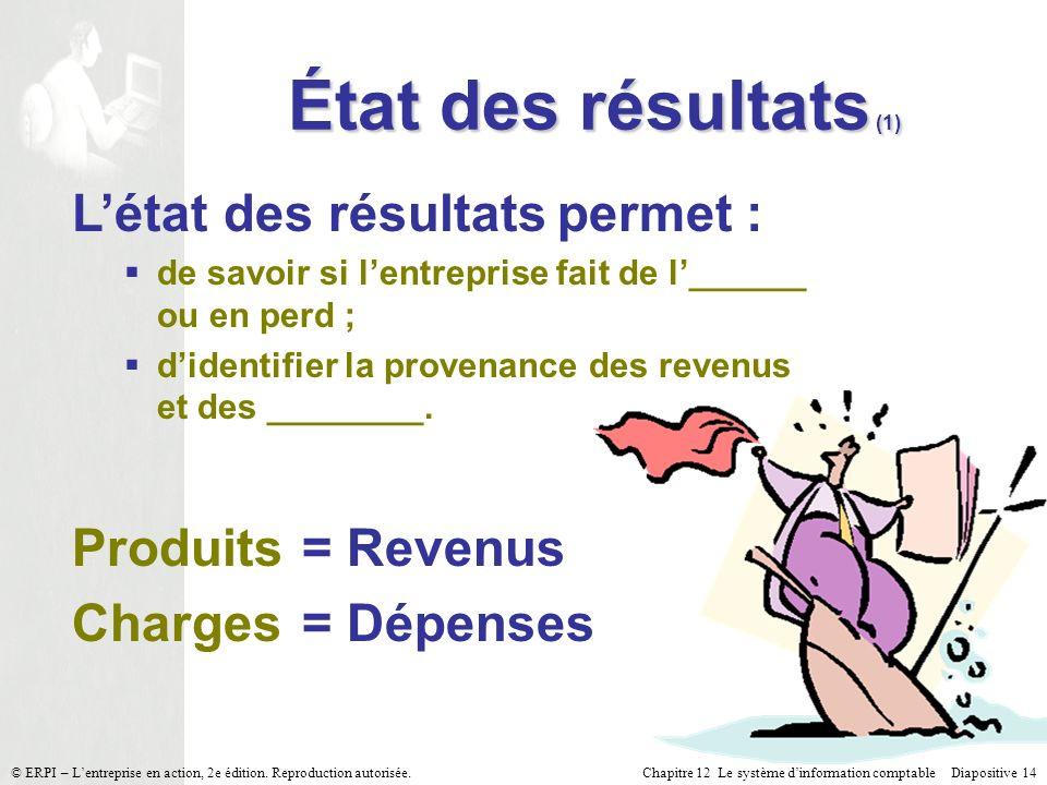 Chapitre 12 Le système dinformation comptable Diapositive 14© ERPI – Lentreprise en action, 2e édition. Reproduction autorisée. Létat des résultats pe
