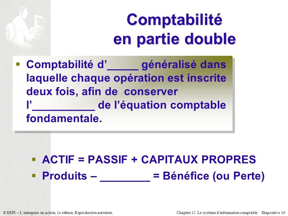 Chapitre 12 Le système dinformation comptable Diapositive 16© ERPI – Lentreprise en action, 2e édition. Reproduction autorisée. Comptabilité en partie