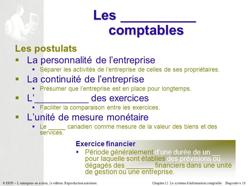 Chapitre 12 Le système dinformation comptable Diapositive 18© ERPI – Lentreprise en action, 2e édition. Reproduction autorisée. Les __________ comptab