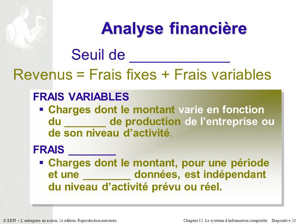 Chapitre 12 Le système dinformation comptable Diapositive 20© ERPI – Lentreprise en action, 2e édition. Reproduction autorisée. Analyse financière Seu