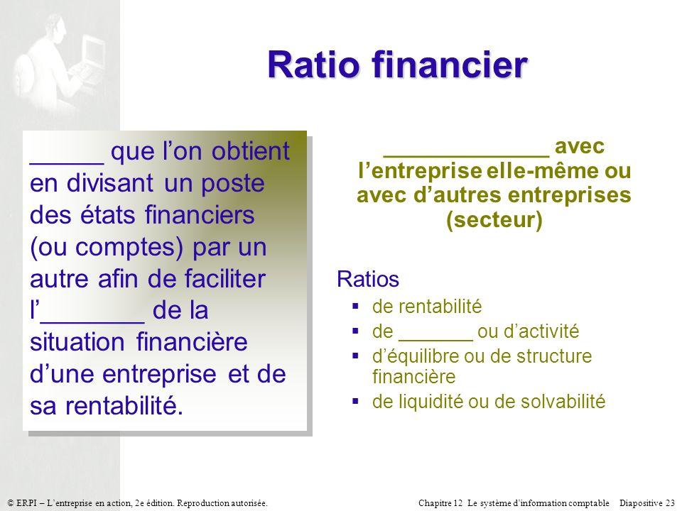 Chapitre 12 Le système dinformation comptable Diapositive 23© ERPI – Lentreprise en action, 2e édition. Reproduction autorisée. Ratio financier _____