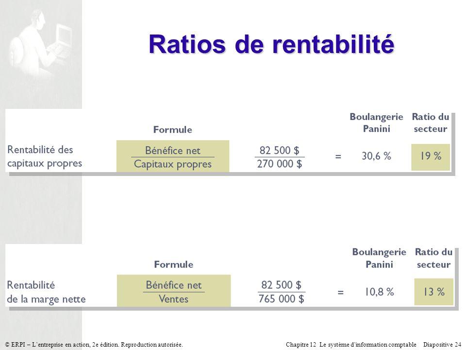 Chapitre 12 Le système dinformation comptable Diapositive 24© ERPI – Lentreprise en action, 2e édition. Reproduction autorisée. Ratios de rentabilité