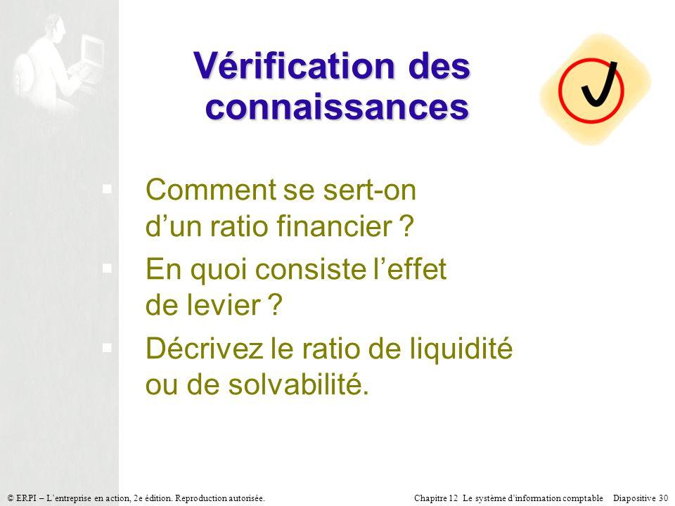 Chapitre 12 Le système dinformation comptable Diapositive 30© ERPI – Lentreprise en action, 2e édition. Reproduction autorisée. Vérification des conna