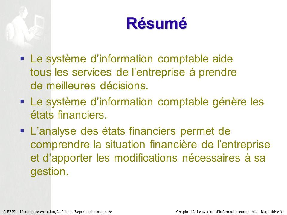 Chapitre 12 Le système dinformation comptable Diapositive 31© ERPI – Lentreprise en action, 2e édition. Reproduction autorisée. Le système dinformatio