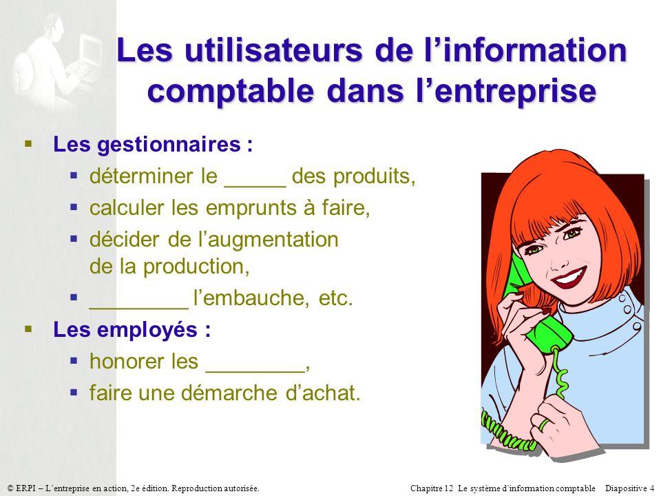 Chapitre 12 Le système dinformation comptable Diapositive 15© ERPI – Lentreprise en action, 2e édition.