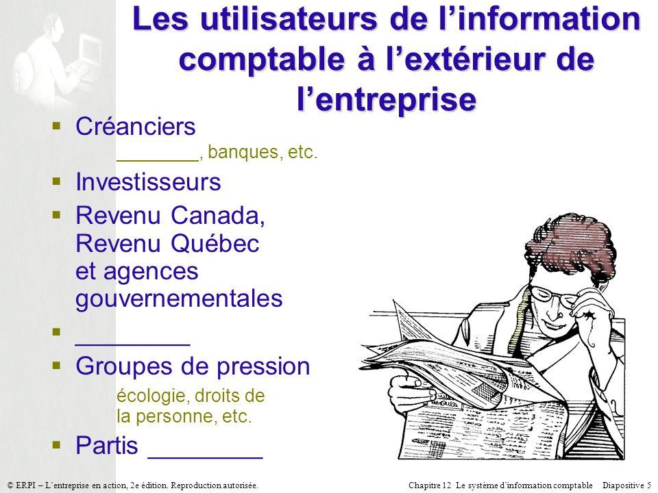 Chapitre 12 Le système dinformation comptable Diapositive 5© ERPI – Lentreprise en action, 2e édition. Reproduction autorisée. Les utilisateurs de lin