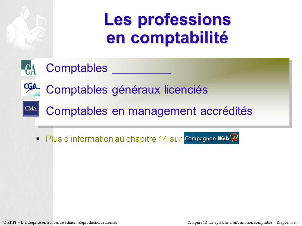 Chapitre 12 Le système dinformation comptable Diapositive 7© ERPI – Lentreprise en action, 2e édition. Reproduction autorisée. Les professions en comp