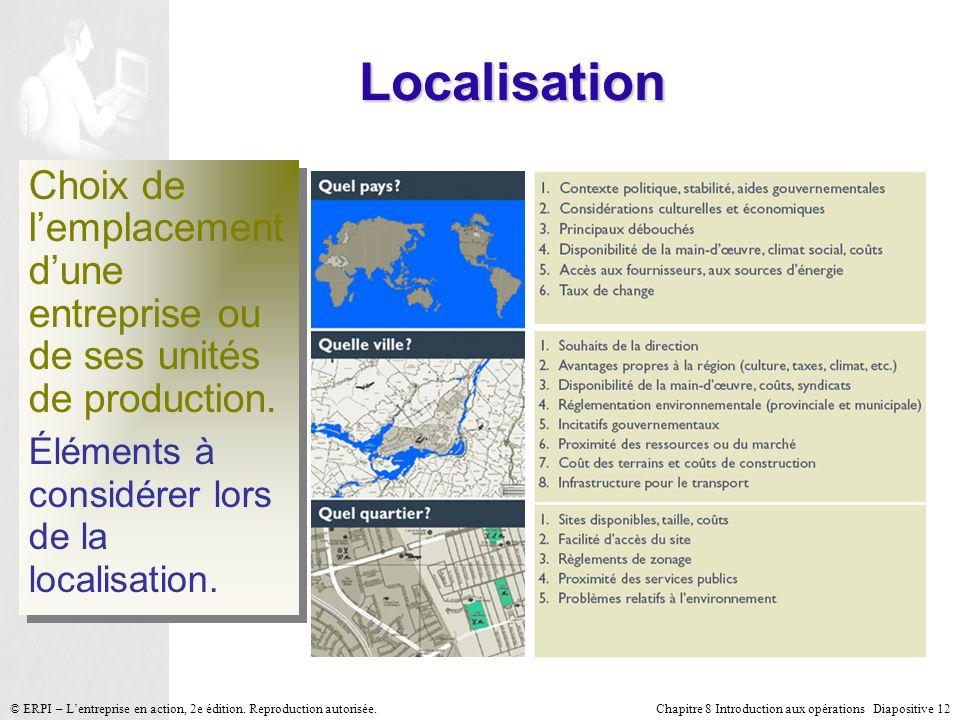 Chapitre 8 Introduction aux opérations Diapositive 12© ERPI – Lentreprise en action, 2e édition. Reproduction autorisée. Localisation Choix de lemplac