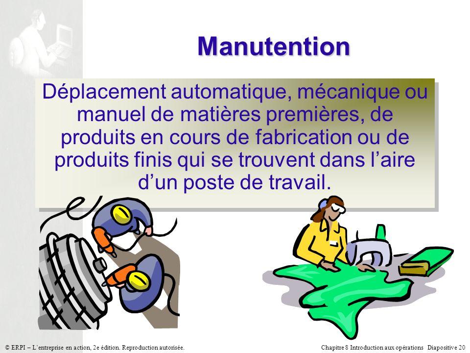Chapitre 8 Introduction aux opérations Diapositive 20© ERPI – Lentreprise en action, 2e édition. Reproduction autorisée. Manutention Déplacement autom