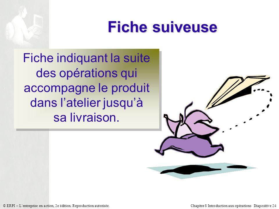 Chapitre 8 Introduction aux opérations Diapositive 24© ERPI – Lentreprise en action, 2e édition. Reproduction autorisée. Fiche suiveuse Fiche indiquan