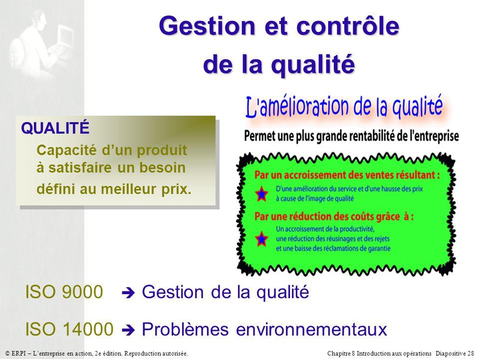 Chapitre 8 Introduction aux opérations Diapositive 28© ERPI – Lentreprise en action, 2e édition. Reproduction autorisée. Gestion et contrôle de la qua
