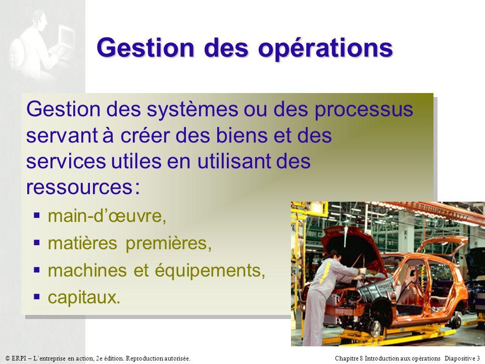 Chapitre 8 Introduction aux opérations Diapositive 3© ERPI – Lentreprise en action, 2e édition. Reproduction autorisée. Gestion des opérations Gestion