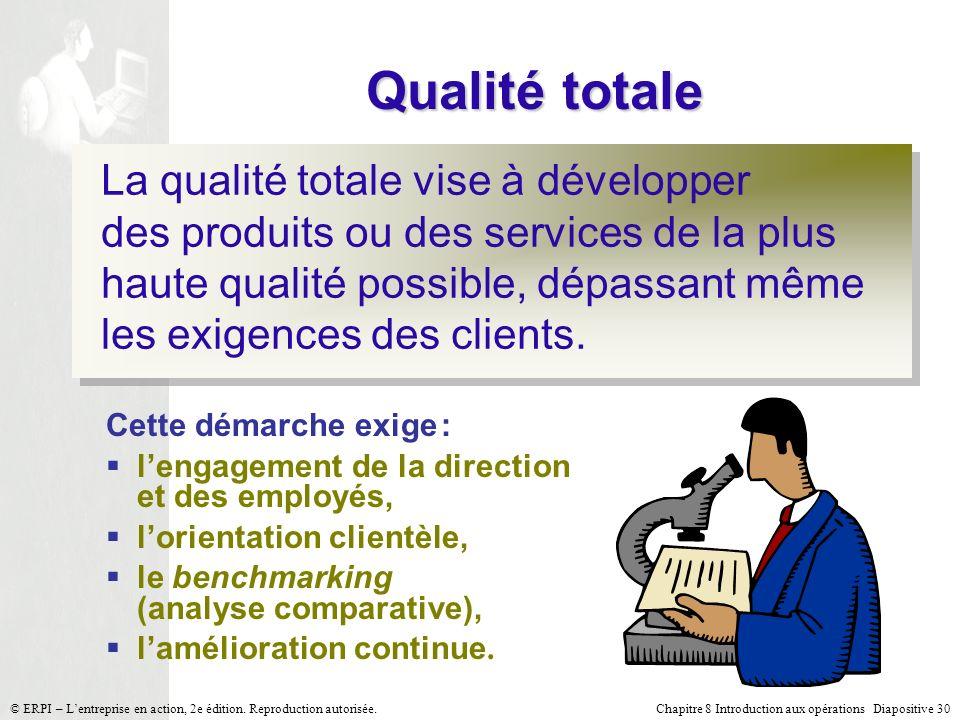 Chapitre 8 Introduction aux opérations Diapositive 30© ERPI – Lentreprise en action, 2e édition. Reproduction autorisée. Qualité totale La qualité tot