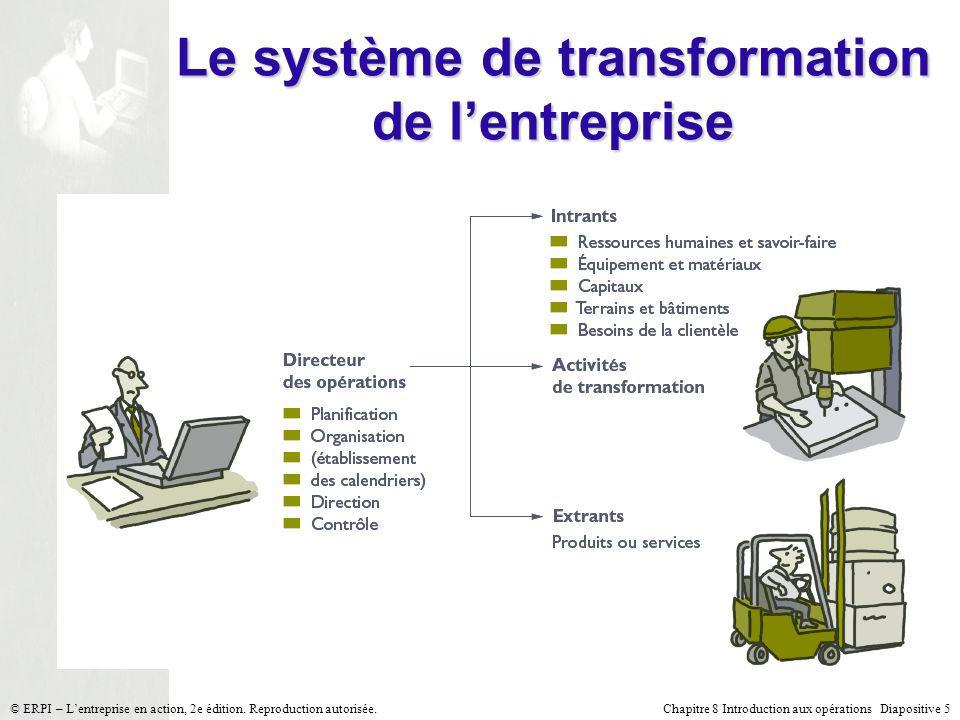 Chapitre 8 Introduction aux opérations Diapositive 5© ERPI – Lentreprise en action, 2e édition. Reproduction autorisée. Le système de transformation d