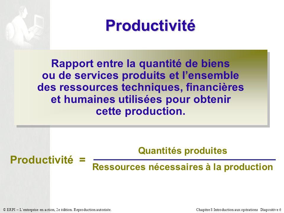 Chapitre 8 Introduction aux opérations Diapositive 6© ERPI – Lentreprise en action, 2e édition. Reproduction autorisée. Productivité Rapport entre la