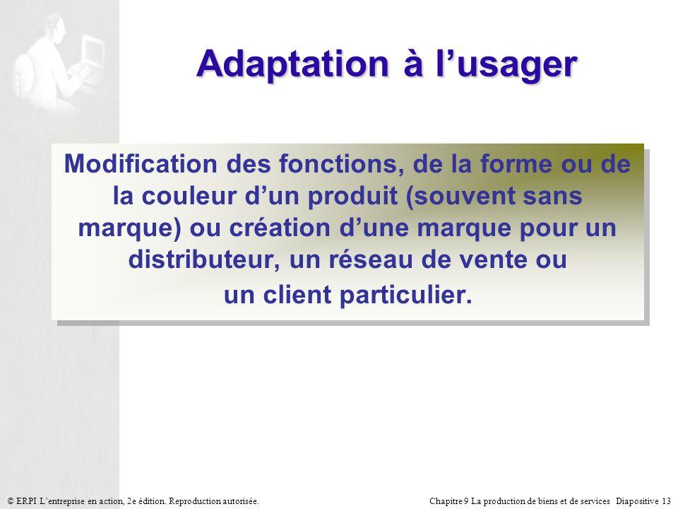 Chapitre 9 La production de biens et de services Diapositive 13© ERPI Lentreprise en action, 2e édition. Reproduction autorisée. Adaptation à lusager