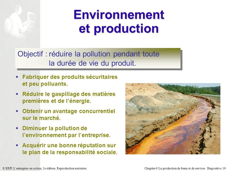 Chapitre 9 La production de biens et de services Diapositive 19© ERPI Lentreprise en action, 2e édition. Reproduction autorisée. Environnement et prod