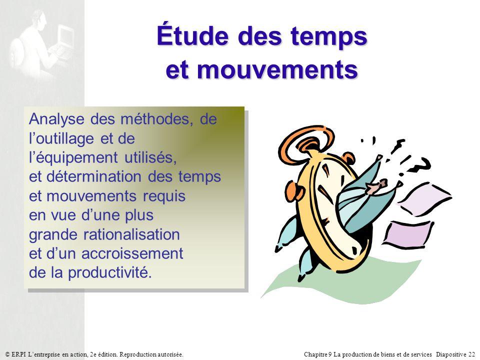 Chapitre 9 La production de biens et de services Diapositive 22© ERPI Lentreprise en action, 2e édition. Reproduction autorisée. Étude des temps et mo