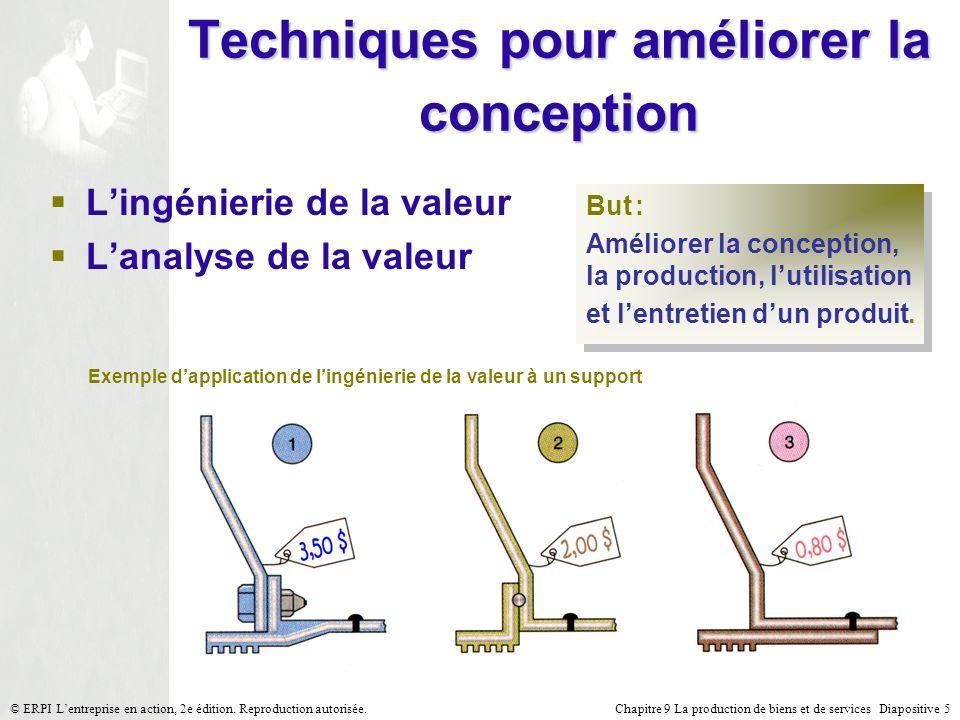 Chapitre 9 La production de biens et de services Diapositive 5© ERPI Lentreprise en action, 2e édition. Reproduction autorisée. Techniques pour amélio