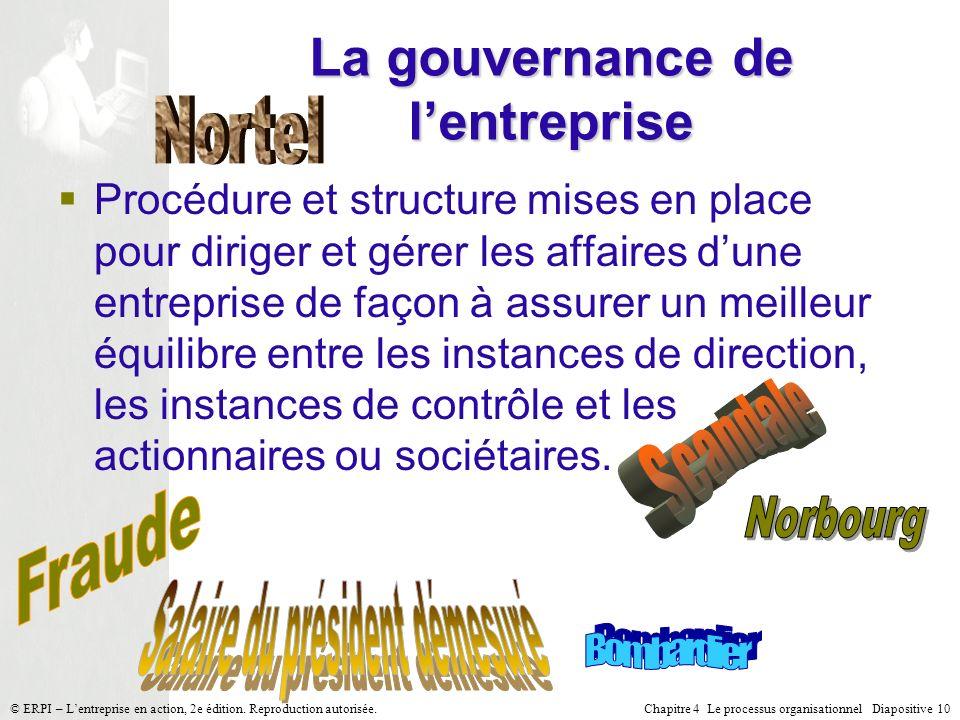 Chapitre 4 Le processus organisationnel Diapositive 10© ERPI – Lentreprise en action, 2e édition. Reproduction autorisée. La gouvernance de lentrepris
