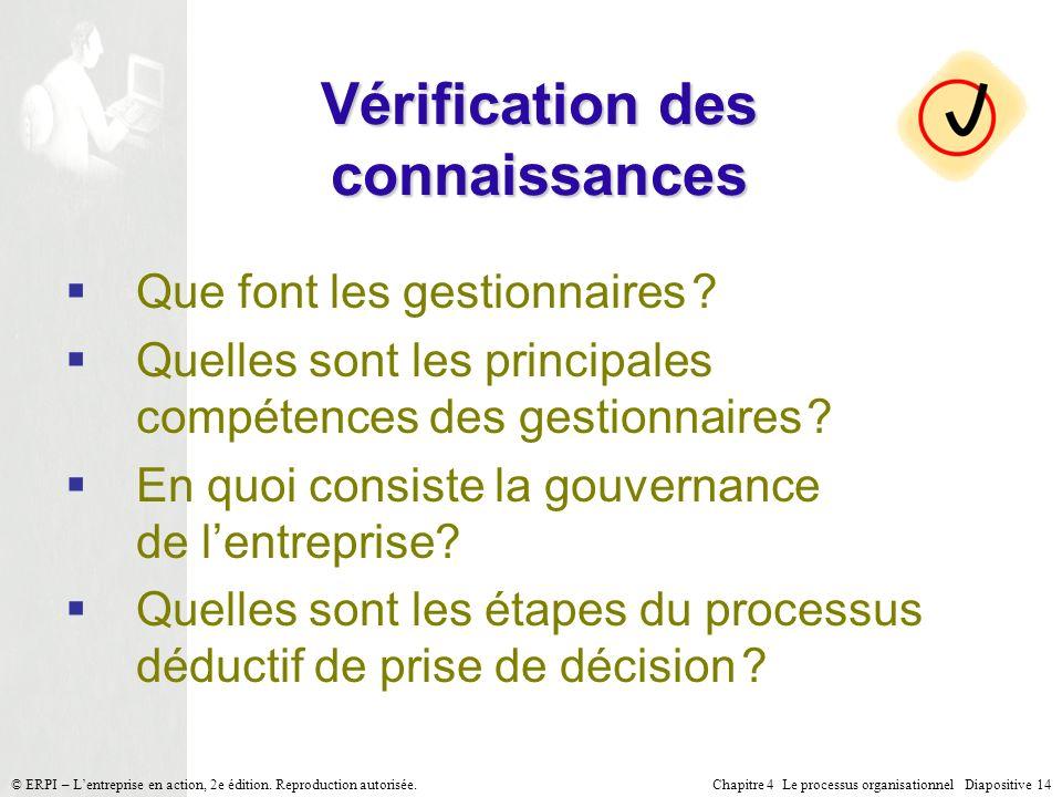 Chapitre 4 Le processus organisationnel Diapositive 14© ERPI – Lentreprise en action, 2e édition. Reproduction autorisée. Vérification des connaissanc
