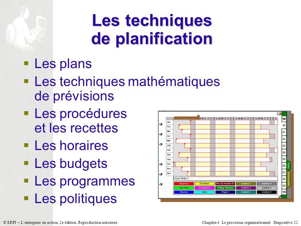 Chapitre 4 Le processus organisationnel Diapositive 22© ERPI – Lentreprise en action, 2e édition. Reproduction autorisée. Les techniques de planificat