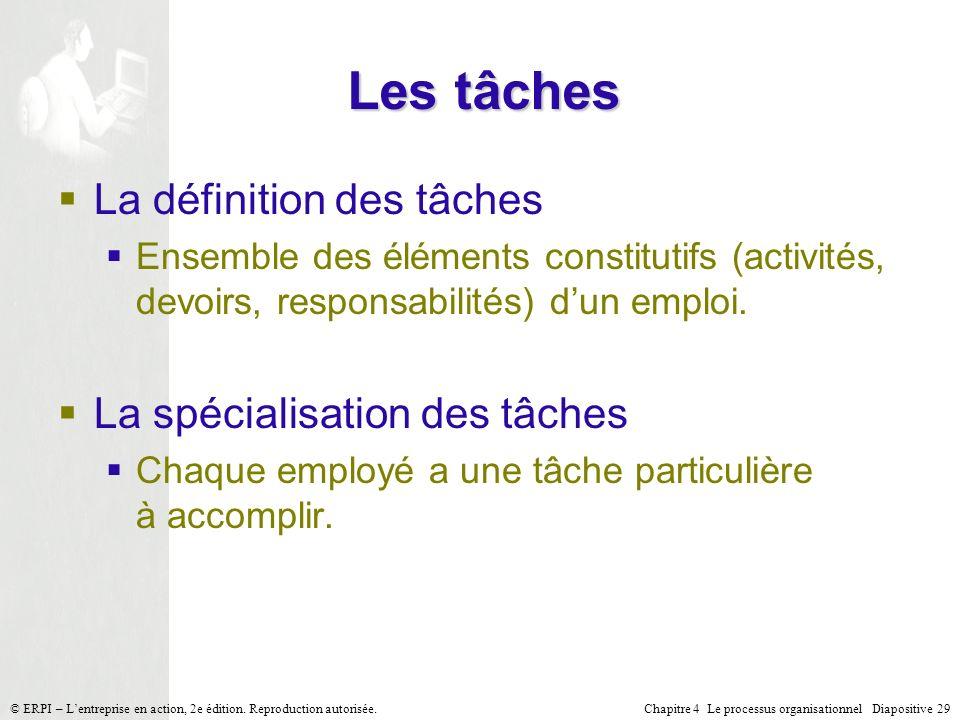Chapitre 4 Le processus organisationnel Diapositive 29© ERPI – Lentreprise en action, 2e édition. Reproduction autorisée. Les tâches La définition des