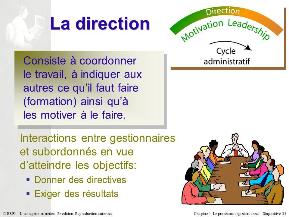 Chapitre 4 Le processus organisationnel Diapositive 35© ERPI – Lentreprise en action, 2e édition. Reproduction autorisée. La direction Consiste à coor