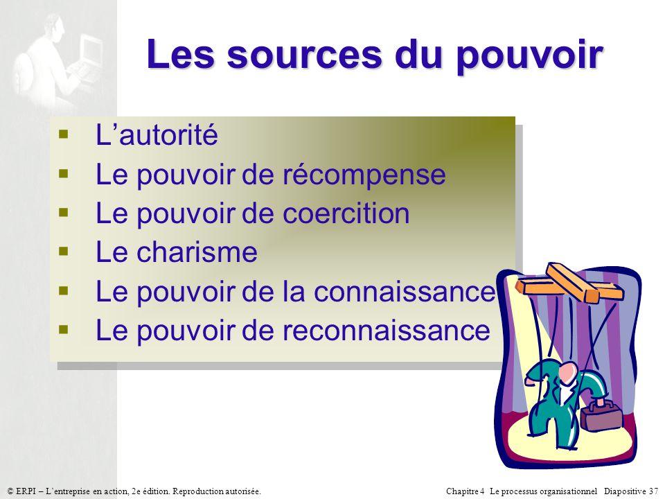 Chapitre 4 Le processus organisationnel Diapositive 37© ERPI – Lentreprise en action, 2e édition. Reproduction autorisée. Les sources du pouvoir Lauto