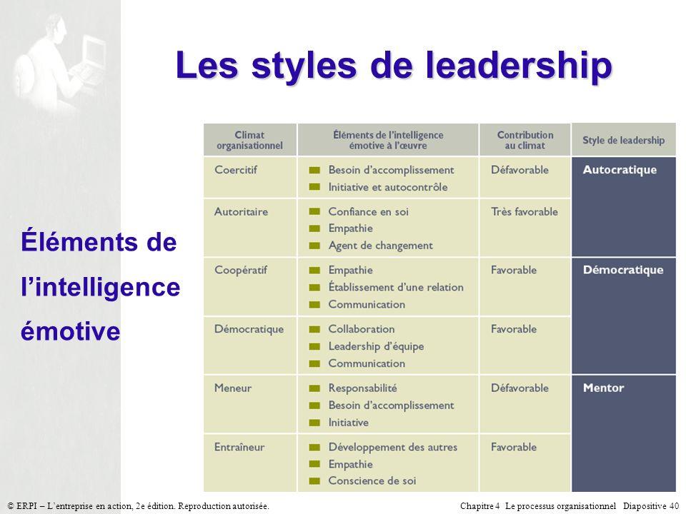 Chapitre 4 Le processus organisationnel Diapositive 40© ERPI – Lentreprise en action, 2e édition. Reproduction autorisée. Les styles de leadership Élé