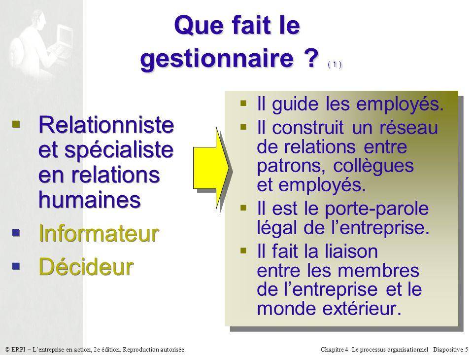 Chapitre 4 Le processus organisationnel Diapositive 5© ERPI – Lentreprise en action, 2e édition. Reproduction autorisée. Que fait le gestionnaire ? (