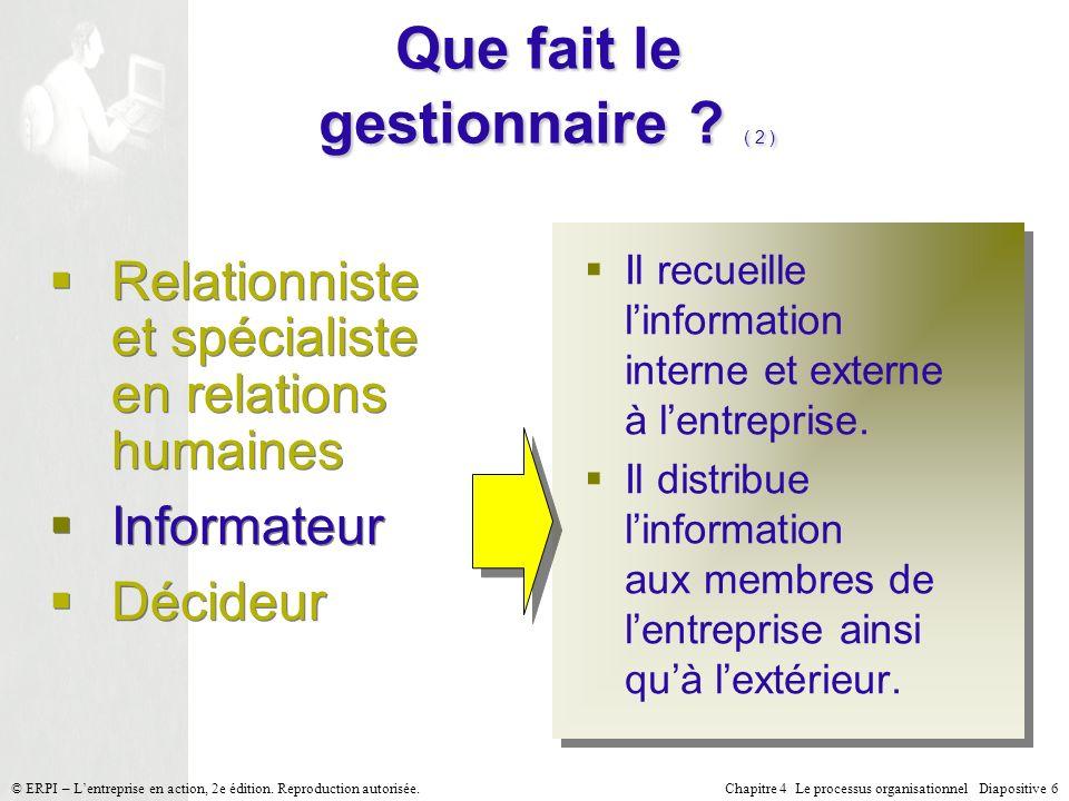 Chapitre 4 Le processus organisationnel Diapositive 6© ERPI – Lentreprise en action, 2e édition. Reproduction autorisée. Il recueille linformation int