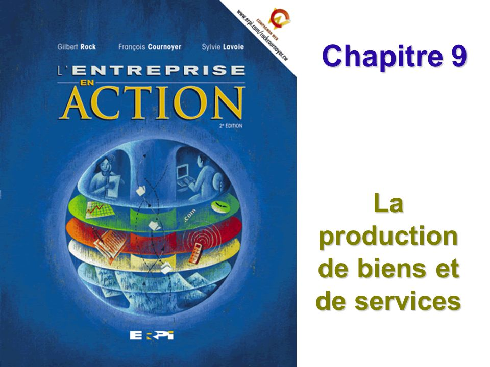 Chapitre 9 La production de biens et de services Diapositive 2© ERPI Lentreprise en action, 2e édition.