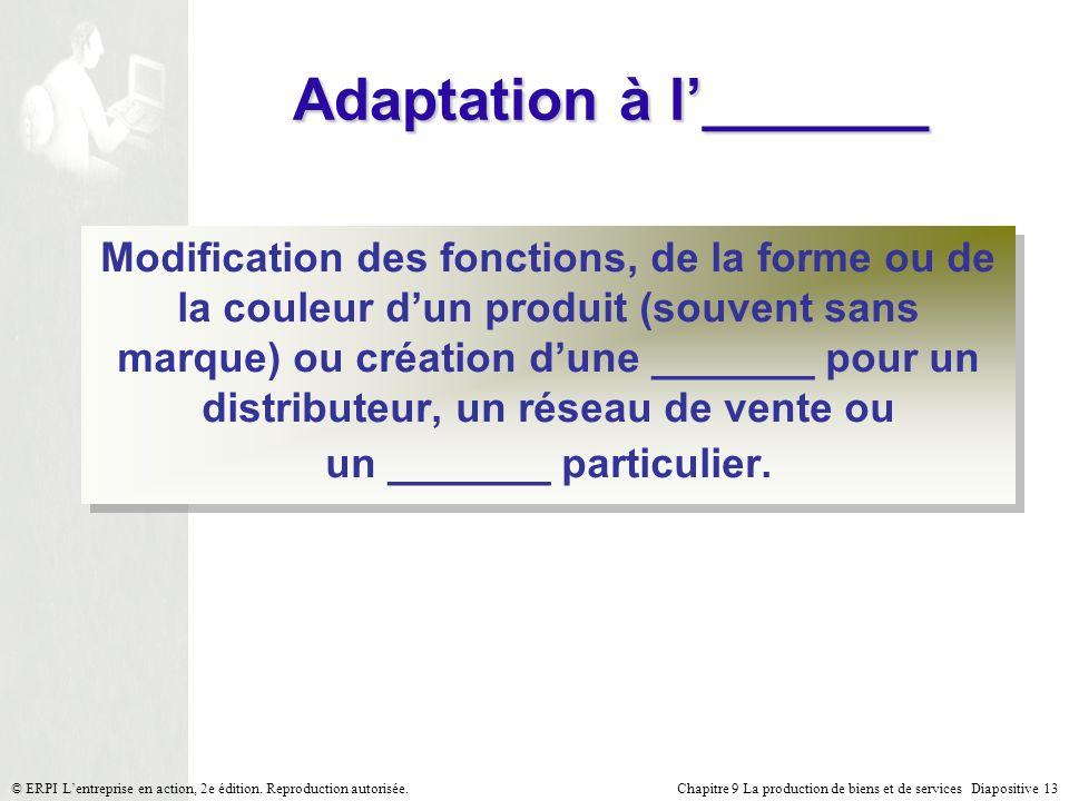 Chapitre 9 La production de biens et de services Diapositive 13© ERPI Lentreprise en action, 2e édition. Reproduction autorisée. Adaptation à l_______