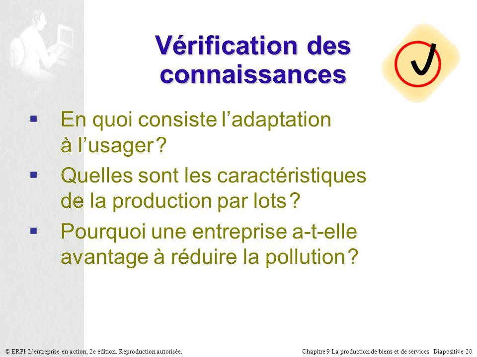 Chapitre 9 La production de biens et de services Diapositive 20© ERPI Lentreprise en action, 2e édition. Reproduction autorisée. Vérification des conn