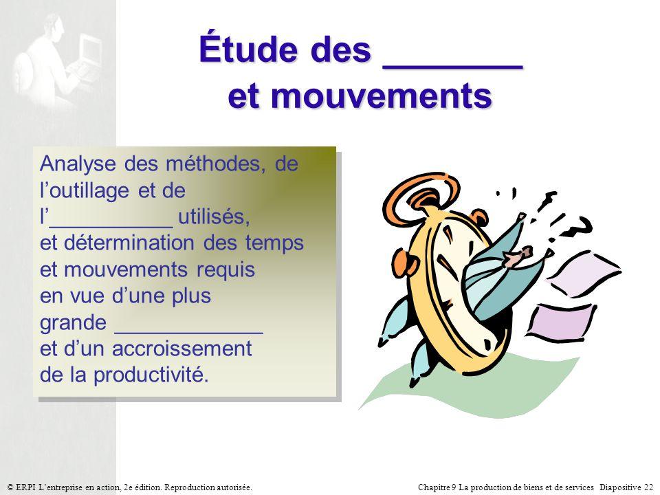Chapitre 9 La production de biens et de services Diapositive 22© ERPI Lentreprise en action, 2e édition. Reproduction autorisée. Étude des _______ et