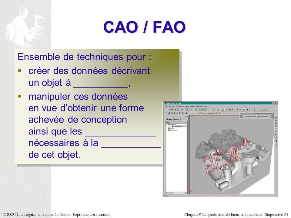 Chapitre 9 La production de biens et de services Diapositive 24© ERPI Lentreprise en action, 2e édition. Reproduction autorisée. CAO / FAO Ensemble de