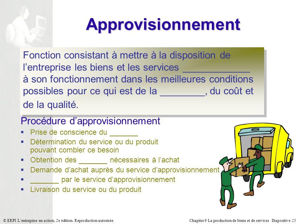 Chapitre 9 La production de biens et de services Diapositive 25© ERPI Lentreprise en action, 2e édition. Reproduction autorisée. Approvisionnement Fon