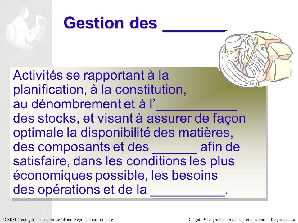 Chapitre 9 La production de biens et de services Diapositive 26© ERPI Lentreprise en action, 2e édition. Reproduction autorisée. Gestion des ________