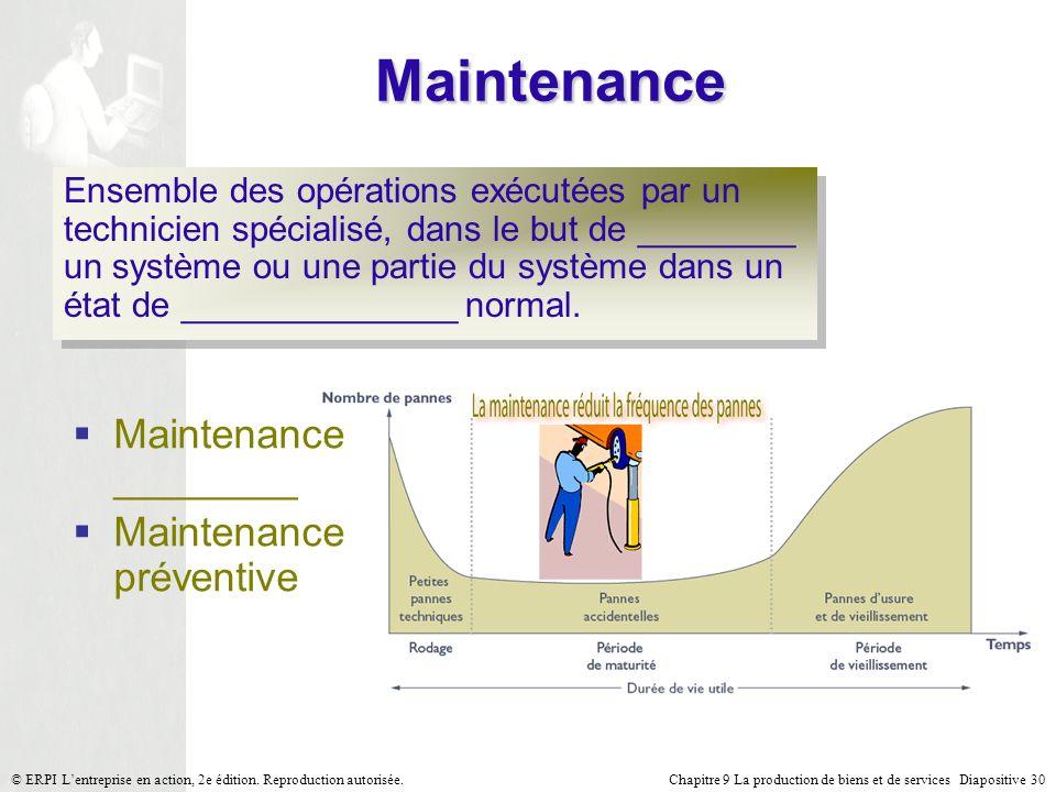 Chapitre 9 La production de biens et de services Diapositive 30© ERPI Lentreprise en action, 2e édition. Reproduction autorisée. Maintenance Ensemble