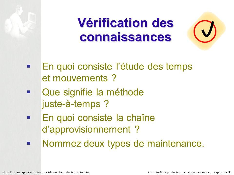 Chapitre 9 La production de biens et de services Diapositive 32© ERPI Lentreprise en action, 2e édition. Reproduction autorisée. Vérification des conn