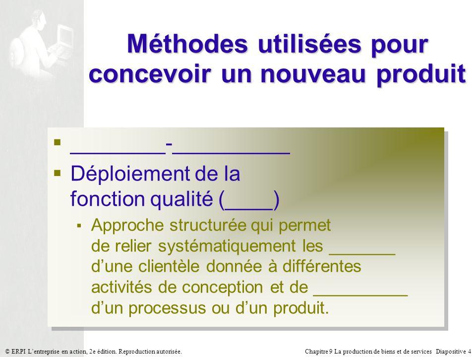 Chapitre 9 La production de biens et de services Diapositive 4© ERPI Lentreprise en action, 2e édition. Reproduction autorisée. Méthodes utilisées pou