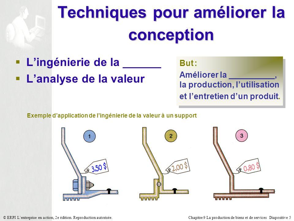 Chapitre 9 La production de biens et de services Diapositive 16© ERPI Lentreprise en action, 2e édition.