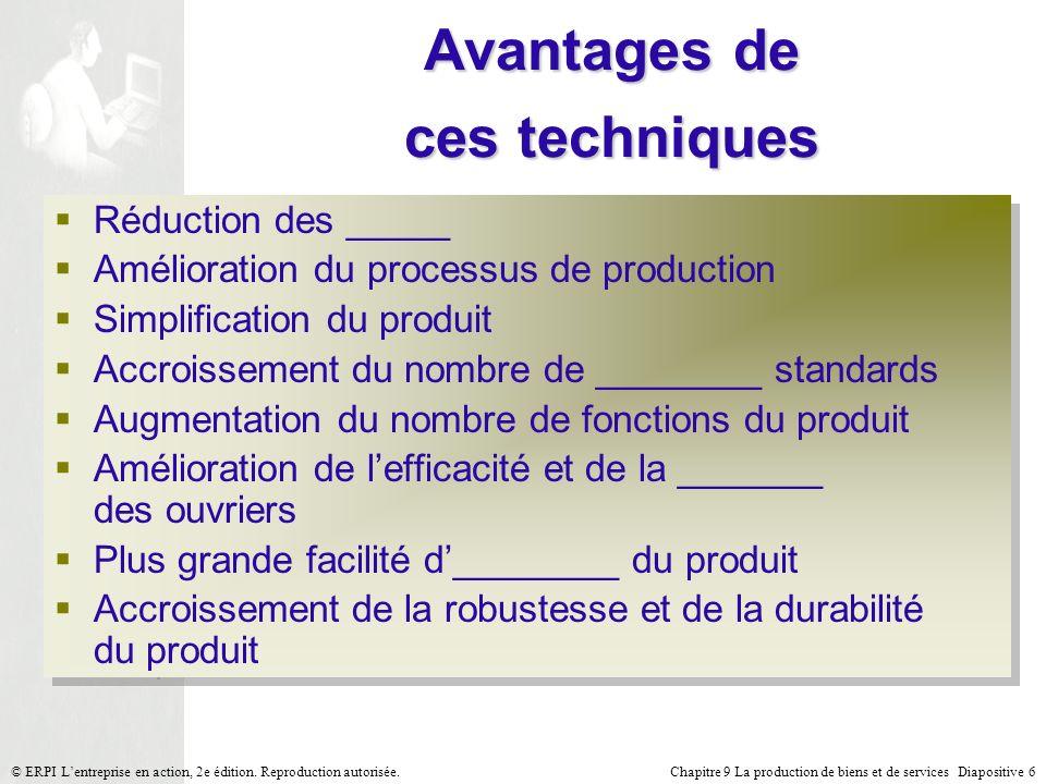 Chapitre 9 La production de biens et de services Diapositive 6© ERPI Lentreprise en action, 2e édition. Reproduction autorisée. Avantages de ces techn